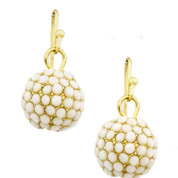 Cream Dangle Disco Ball Earrings