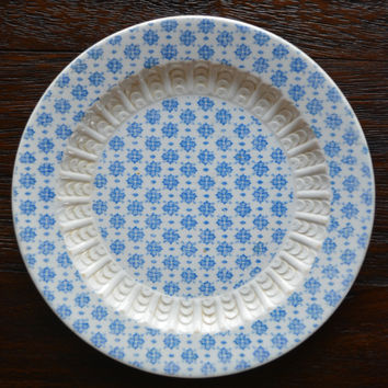 Antique English Victorian Blue Floral Chintz Transferware Aesthetic Movement Embossed Plate