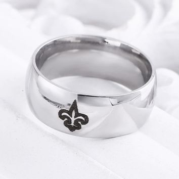 Simple Silver White New Orleans Saints Logo Men And Women Couples Men's Universal Silver Titanium Steel Ring