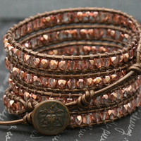 wrap bracelet- rose gold czech glass on bronze leather- beaded leather 4 wrap bracelet