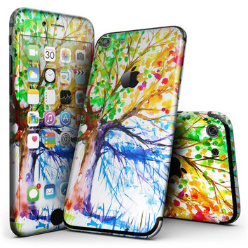 Abstract Colorful WaterColor Vivid Tree V3 - 4-Piece Skin Kit for the iPhone 7 or 7 Plus