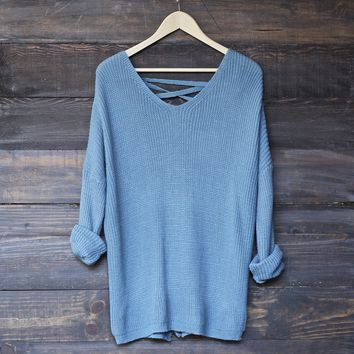 oversize pullover laced back sweater - sky blue