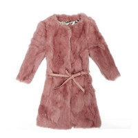 Buy Elegant Pure Color Half Sleeve Rabbit Fur Coat Pink(With Belt) with cheapest price|wholesale-dress.net