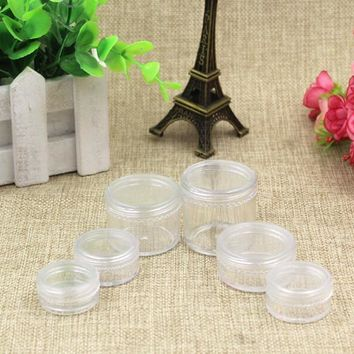 Clear Cream Plastic Jar Screw Cap Empty Refillable 2g 3g Cosmetic lip gloss packing Eye Shadow Make up Container Pot