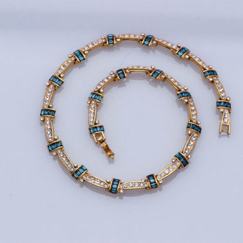Vintage Rhinestone Necklace  Sapphire Blue Baguette  Clear Rhinestone  22 kt Gold plated  D'Orlan
