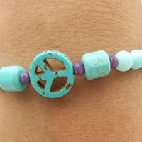 Peace and Love Handmade Turquoise Bead Bracelet Jewelry beaded bracelet gemstone bracelet boho stacking bracelet set stretch bracelet nature