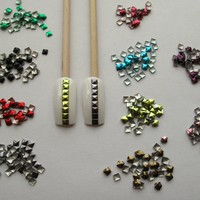 Nail Art 1000 Pieces Mix Color 3mm Square Metal Studs for Nails, Cellphones