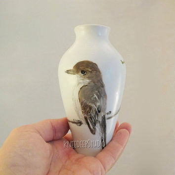 Hand-Painted Bird Porcelain Vase Songbird Phoebe on Branch Nature Gift for Her Housewarming Gift Unique Original OOAK Functional Fine Art