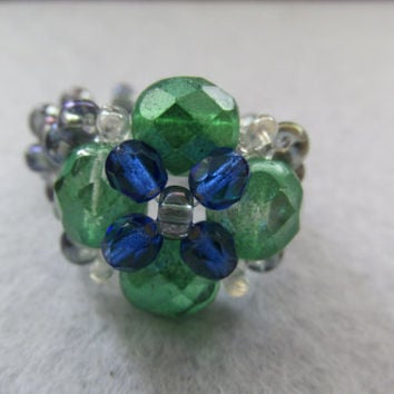Handmade emerald green pearl, blue beaded ring