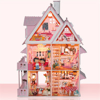 Free Shipping Assembling DIY Miniature Model Kit Wooden Doll House,Unique Big Size House Toy With Furnitures