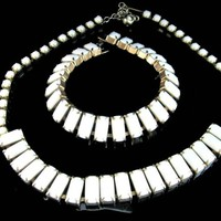 Art Deco Milk Glass Necklace and Bracelet Set White Chicklets 1940's