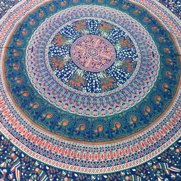Elephant Mandala Tapestry,CottonTapestry Wall Hanging, Hippie Tapestry, Indian Queen Size Bedspread, Bohemian Tapestry Mandala Green/Blue
