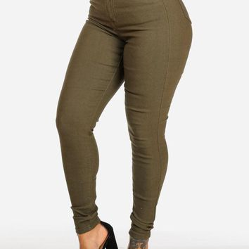 Classic High Waisted Olive Skinny Jeans