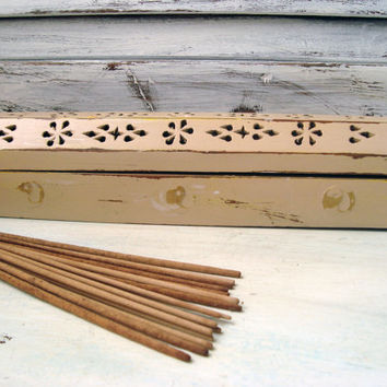Tan Painted Wooden Incense Burner with Yin Yang Embellishments, Shabby Chic Beige Incense Coffin, Cottage Chic Incense Storage Box