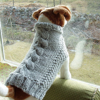 40f109a5072c3b Dog Sweater Hand Knit Heather Grey Cable Medium by jenya2 on Etsy