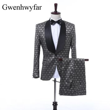 2018 New Ripple Pattern Slim Fit Groom Tuxedos Men Suits Terno Masculino Men Wedding Suits For Men Prom Tuxedo (Jacket+Pants)