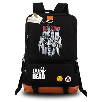 Anime Walking dead Fashion Popular Canvas Shoulder Bag Backpack Rucksacks Zombie schoolbag Unisex