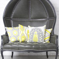www.roomservicestore.com - Balloon Chair Loveseat in Charcoal Gray Faux Leather