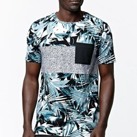 On The Byas Jungle Cat Panel Longline T-Shirt - Mens Tee - Green