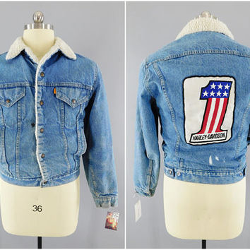 1970s Vintage / LEVIs Denim Jacket / Sherpa Lined / Harley Davidson / US 1 Patch / Evil Knievel / #1 Harley Patch / Trucker Jacket / Biker
