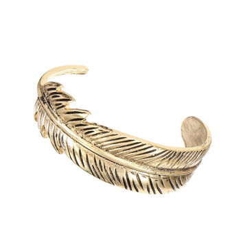 Brass Leaf Bracelet In Vintage