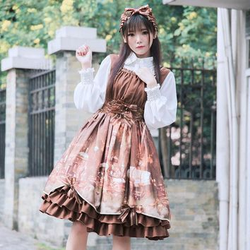 2017 Coffee Strap Double Shoulder Square Collar Castle Pattern JSK Knee-Length Gothic Victorian Lolita Dresses For Women