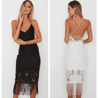 2017 Summer Backless V-neck Strappy Lace Dress with Tassel Hem [10497108623]