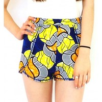 Shorts Jake Wrap in African Wax Print in blue and yellow
