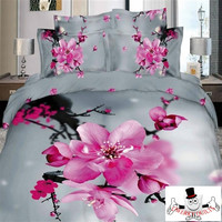 3D Pink Blooming Blossom Gray Bedding Set and Quilt Cover