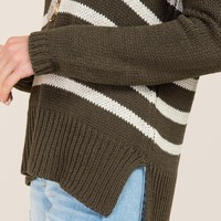 Jett Striped Step Hem Pullover Sweater