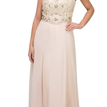 Champagne Illusion Beaded Bodice Long Prom Dress Sleeveless