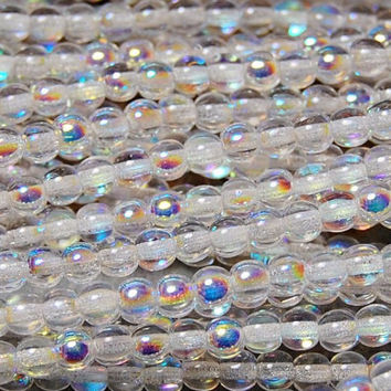 AB Crystal 4mm round czech beads  - 100 Czech Beads