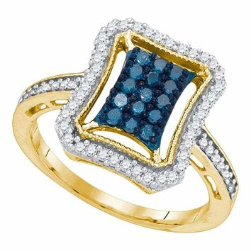 10kt Yellow Gold Women's Round Blue Color Enhanced Diamond Indented Rectangle Cluster Ring 1-2 Cttw - FREE Shipping (USA/CAN)
