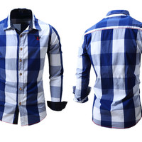 Men's Slim Fit Plaid Button Down Shirt