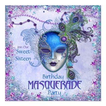 Sweet Sixteen Peacock Masquerade Party Custom Invitations