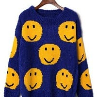 Smile Face Knit Sweater Blue