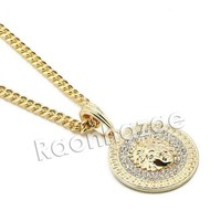 ONETOW Mens Iced Out Brass Gold Medusa Charm Pendant w/ 5mm 24' 30' Cuban Chain A07G