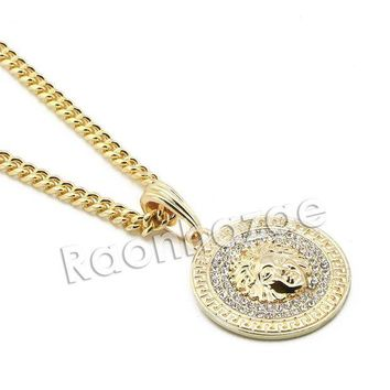 LMFA8C Mens Iced Out Brass Gold Medusa Charm Pendant w/ 5mm 24' 30' Cuban Chain A07G