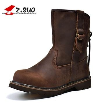 Genuine Leather Women Boots Leisure Mid-calf Western Boots Spring Brown Boots Women Botas Mujer Chaussures Femme