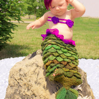 Crochet Ariel Mermaid Tail, Shells, Headband - PDF Pattern