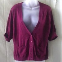 Cleo burgundy v-neck short-sleeved rayon medium cardigan - Sweaters