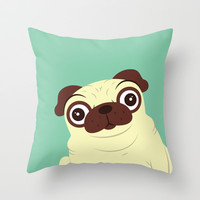 Pug Throw Pillow by Hoborobo