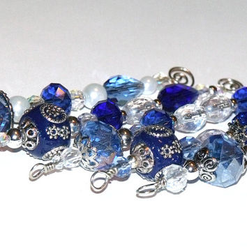 Blue Christmas Icicle Ornaments - beaded blue and silver holiday tree decorations