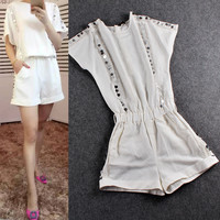 White No Collar Sequined Loose Sleeve   Elastic Waist Romper