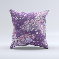 Purple & White Butterfly Elegance  Ink-Fuzed Decorative Throw Pillow