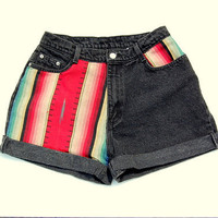 Black high waist denim with southwestern motif panels