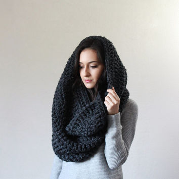 The Vienne, extra large chunky infinity knit blanket scarf - CHARCOAL