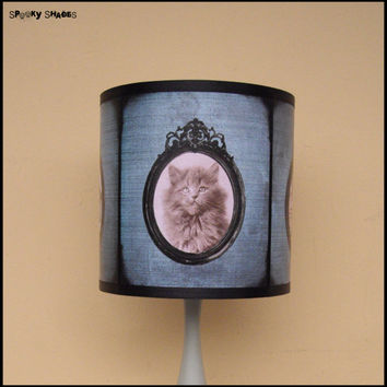 Cute Cats Lamp Shade Lampshade - cute kitten, mothers day, cat lover gift, blue lamp shade, cat light, children decor, shabby chic, cat lady
