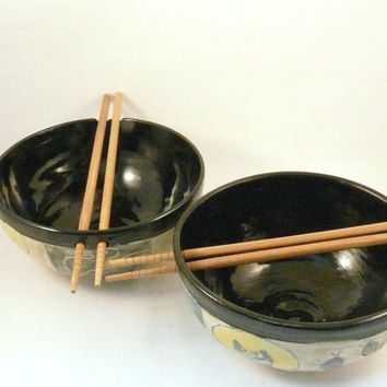One Handmade Ceramic Rice Bowl with Chopsticks - Noodle Dish in Desert Cactus IN STOCK