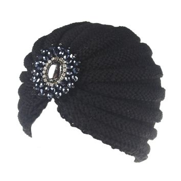 XDOMI 2018 Fashion Women Hat Cap Ladies Metal Jewel Accessory Winter Warm gem Turban Soft Knit Headband Beanie Crochet Headwrap